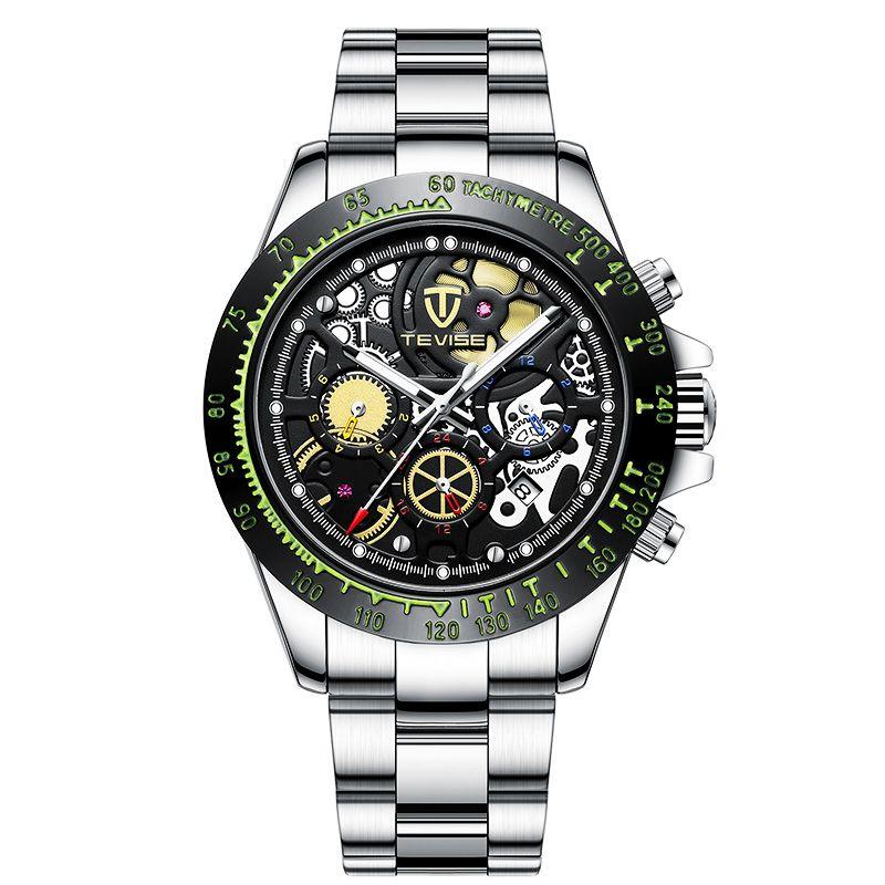 Ceas barbatesc mecanic Tevise® 863, automatic, analog, indicatoare luminoase, rezistent la apa, curea metalica, negru