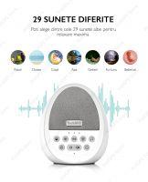 Dispozitiv Sunete Albe Techone® W06 29 sunete HD, pentru copii si adulti, portabil, acumulator 1200mAh, timer, lumina de veghe, White Noise, Alb