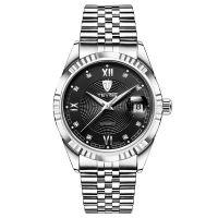 Ceas barbatesc mecanic Tevise® 629-003, automatic, analog, rezistent la apa, calendar, indicatoare luminoase, lupa, curea metalica, cadran negru, argintiu