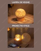 Lampa de veghe portabila pentru copii Huerler® TD01 LED, proiectie tavan, 6 tipuri proiectii incluse, rotire automata, acumulator 1200mAh incarcare USB, muzica bluetooth, alb