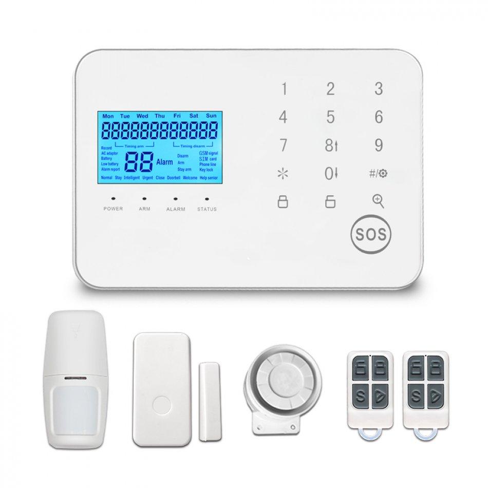 Sistem de alarma wireless GSM Wale® JT99CS, control aplicatie si SMS, comunicare bidirectionala SOS, inregistrare evenimente, sim pre-pay cadou