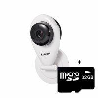 Baby Monitor Wireless Sricam™ SP009, HD, video-audio bebelusi, vedere nocturna, sunet bidirectional, push to talk, senzor miscare, alb, pachet bundle (Camera + card 32GB)