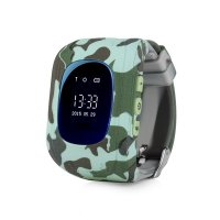 Ceas smartwatch copii GPS TechONE™ Q50 Camo Pro, cu functie telefon, buton SOS si monitorizare spion, Verde Camo