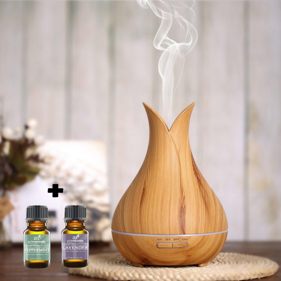 Difuzor aromaterapie KD Home™ SU-HP01, lumina ambientala, ultrasunete, rezervor 400ml