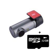 Camera auto DVR TechONE™ RoadTeam WF04, WiFi, Full HD 30fps, night vision, unghi de filmare 140 grade, tehnologie WDR, negru (bundle camera + card 32GB)