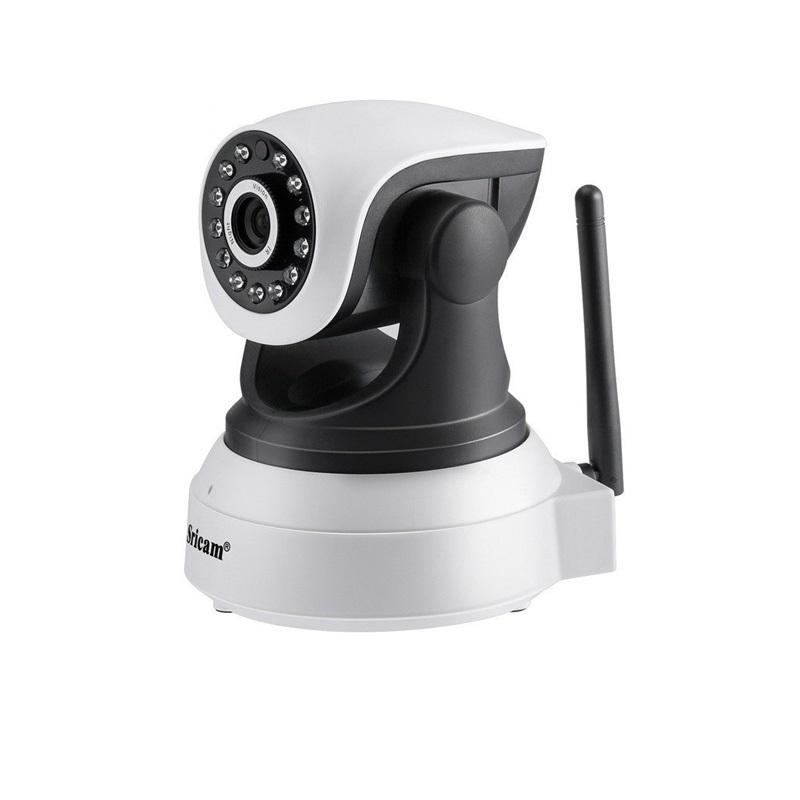 Camera de supraveghere WIFI Sricam™ SP017, Night vision, Rotire automata rapida, FullHD, camera 2.0 MP, senzor miscare, alb, pachet (camera + card 32GB)