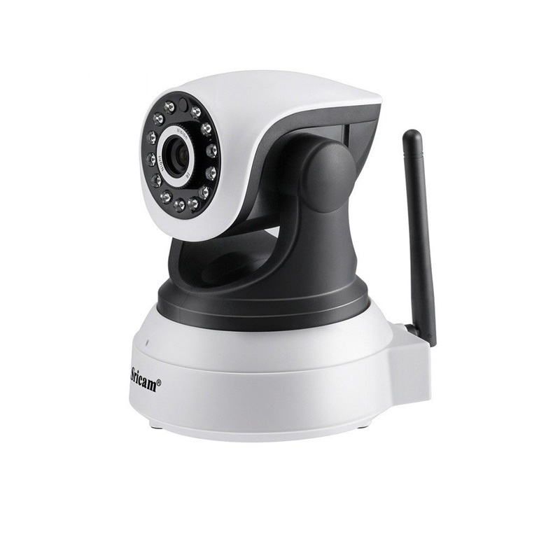 Camera de supraveghere WIFI Sricam™ SP017, Night vision, Rotire automata rapida, senzor miscare, alb, pachet (camera + card 32GB)