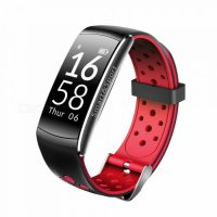 Bratara fitness TechONE™  Q8S, color, heart rate, tensiune, management somn, OLED 0.96 inch, IP68 submersibilia, Rosu/Negru