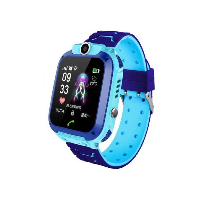 Ceas smartwatch copii TechONE Q12, rezistent la apa, telefon, touchscreen, foto, monitorizare spion, buton SOS, albastru