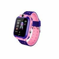 Ceas smartwatch copii TechONE Q12, rezistent la apa, telefon, touchscreen, foto, monitorizare spion, buton SOS, roz
