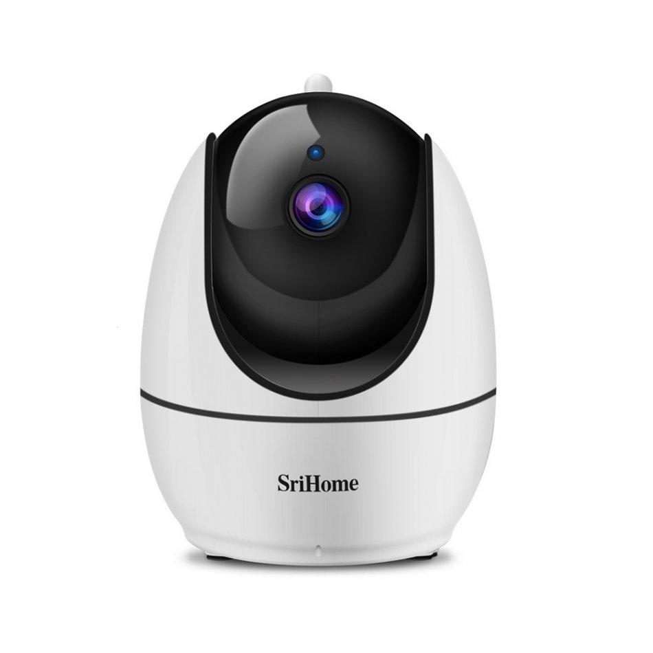 Camera de supraveghere WIFI Sricam™ SH026, Night vision, Rotire automata rapida, FullHD 2.0 MP, senzor miscare, hotspot, multi user, zone private, alb, pachet bundle (Camera + Card 32GB)