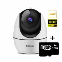 Camera de supraveghere WIFI Sricam™ SH026, Night vision, Rotire automata rapida, FullHD 2.0 MP, senzor miscare, hotspot, multi user, zone private, alb, pachet bundle (Camera + Card 32GB)