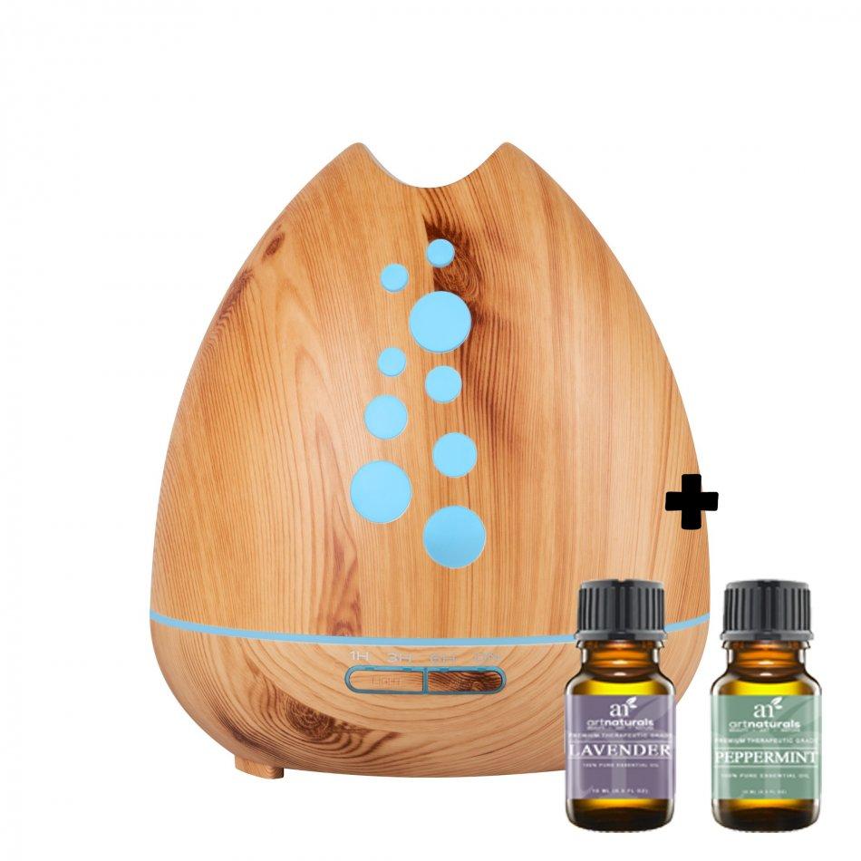 Difuzor aromaterapie KD Home™ SU-F01, lumina ambientala, ultrasunete, 20-50 ml/h, rezervor 400ml, maro