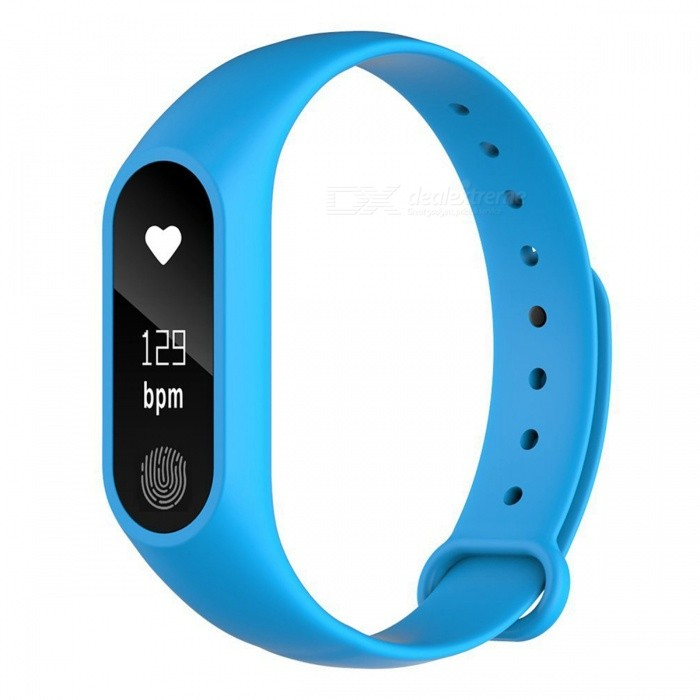 Bratara fitness TechONE™ M2, BT 4.0, heart rate, rezistenta apa, notificari apeluri, super usoara, stand by 10 zile, albastru