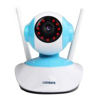 Camera IP wireless Loosafe®  LS-V8, FullHD 1080p 2MP, IR-CUT, Night vision, rotire automata, senzor miscare, notificare miscare, comunicare bidirectionala, alb