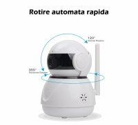 Baby monitor Loosafe LS-F5 Pro, wifi, night vision, sunet bidirectional, push to talk, Full HD, rotire automata rapida, slot card, senzor miscare, alb