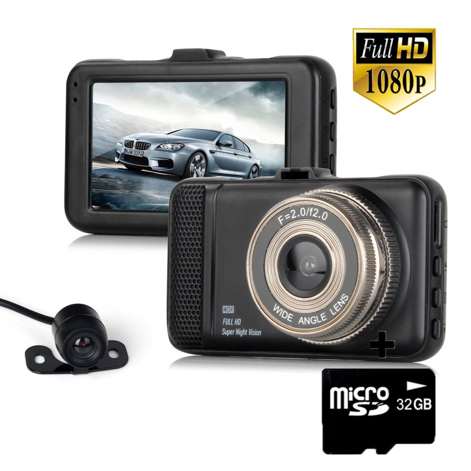 Camera auto DVR TechONE™ RoadTeam T659, 3 inch, FullHD, unghi 170 grade, metalica, camera marsarier, detectie miscare, inregistrare in bucla, negru