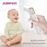 Termometru copii infrarosu Jumper® FR203 non contact Pro, frunte, obiecte, ambient, masurare rapida, silent modem testat clinic, slim, husa si baterii incluse, alb