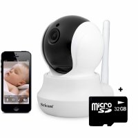 Baby Monitor Wireless Sricam™ SP020 Pro, FullHD, 2MP, video-audio bebelusi, vedere nocturna, sunet bidirectional, push to talk, rotire automata, senzor miscare, alb, pachet bundle (Camera + card 32GB)