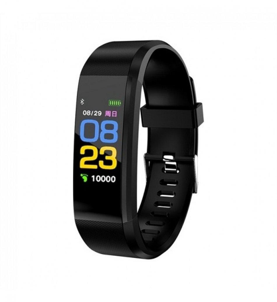Bratara fitness TechONE™ ID115 Pro, color, multi sport, puls, tensiune, notificari, control camera foto, negru