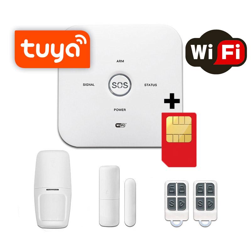 Sistem de alarma wireless GSM Wale® JT-10GDT, control aplicatie TUYA si SMS, baterie incorporata, alerta telefon si SMS, sim pre-pay cadou