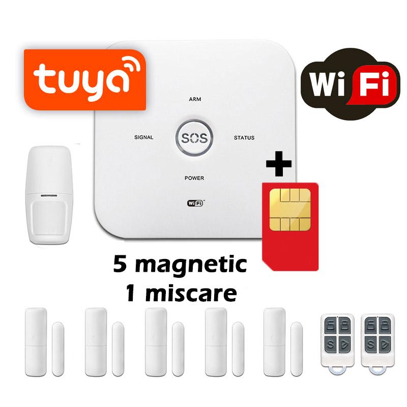 Sistem de alarma wireless GSM Wale® JT10GDT, 6 senzori control aplicatie TUYA si SMS, baterie incorporata, alerta telefon si SMS, sim pre-pay cadou
