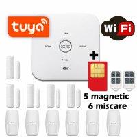 Sistem de alarma wireless GSM Wale® JT-10GDT, 11 senzori control aplicatie TUYA si SMS, baterie incorporata, alerta telefon si SMS, sim pre-pay cadou