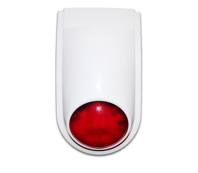 Sirena exterior wireless Wale WL-108AW pentru sistem de alarma, compatibil orice sistem de alarma, alb