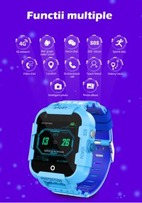 Ceas smartwatch GPS copii TechONE™ KT12 4G, apel video, camera ultrapixel, Wi-Fi, rezistent la apa, telefon, bluetooth, SOS, touchscreen, monitorizare spion,  Roz