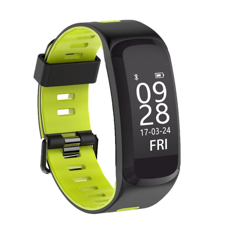 Bratara fitness TechONE™ F4 Pro Plus, IP68 submersibila, puls dinamic, tensiune, vremea, altitudine, UV index, Android, iOS, notificari, negru/verde