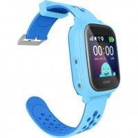 Ceas inteligent cu GPS pentru copii Wonlex™ KT04, functie telefon, GPS, rezistent la apa, SIM prepay cadou, Albastru