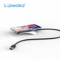 Incarcator wireless Loowoko LWC-F07, 10W, disipare caldura, metalic, protectie scurtcircuit, logo luminos, incarcare cu carcasa, negru