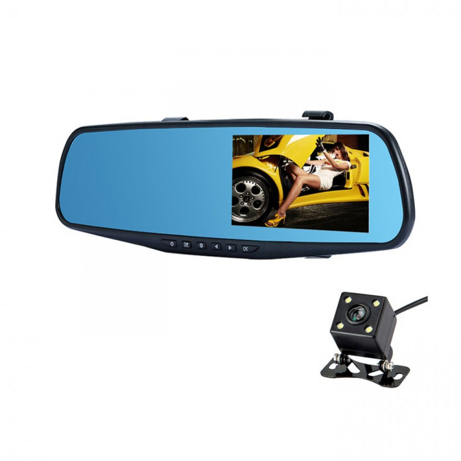 Camera auto oglinda DVR Loosafe™ RoadTeam L708, Full HD, lentile SONY, 170 grade, 4.3 inch, camera marsarier, inregistrare cliclica, WDR, negru