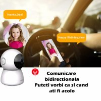 Baby Monitor Wireless Loosafe™ PD205L Baby, FullHD, 2MP 1080p, video-audio bebelusi, lentile Sony, vedere nocturna, sunet bidirectional, push to talk, rotire automata rapida, senzor miscare, alb