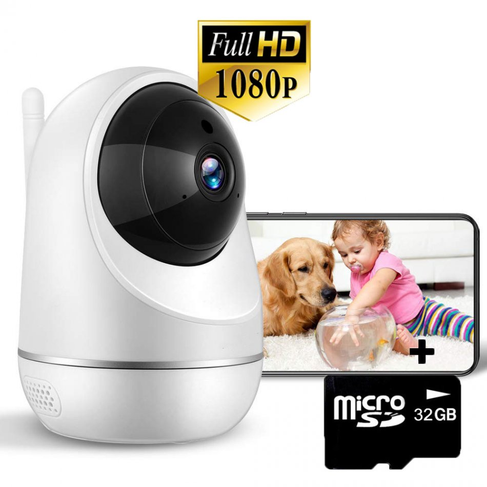 Baby Monitor Wireless Loosafe™ PG301 Baby, FullHD, 3MP 1080p, video-audio bebelusi, detectare plans bebelus, lentile Sony, vedere nocturna, sunet bidirectional, push to talk, rotire automata rapida, senzor miscare, alb