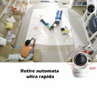 Baby Monitor Wireless Loosafe™ PG301 Baby, FullHD, 3MP 1080p, video-audio bebelusi, detectare plans bebelus, lentile Sony, vedere nocturna, sunet bidirectional, push to talk, rotire automata rapida, senzor miscare, alb