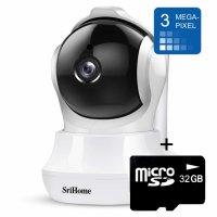 Baby Monitor video SriHome™️ SH020, rotire motorizata, vedere noaptea, detectare umana, comunicare bi-directionala, alb