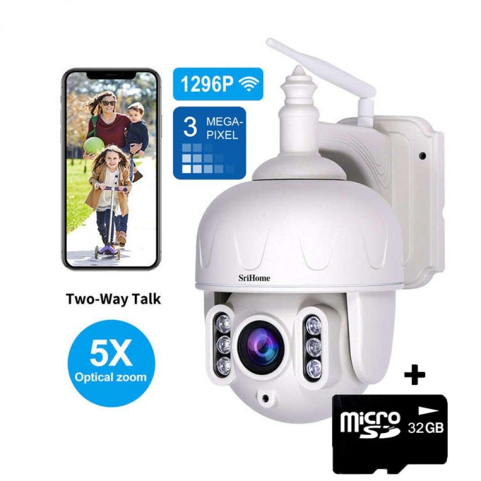 Camera de supraveghere WIFI Sricam™ SH028 de exterior, 5X zoom optic, rezistenta la apa, 3MP 1296p, senzor miscare