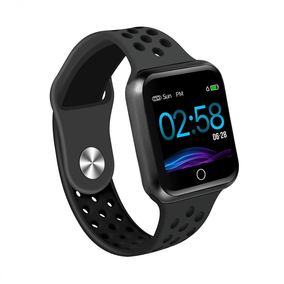 Bratara fitness TechONE™ S226, color, monitorizare puls, notificari, baterie 300mAh, negru