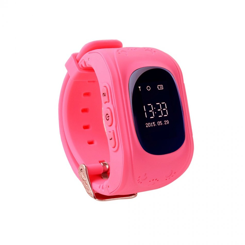 Ceas smartwatch copii GPS Techone™ Q50 GPS,  functie telefon, buton SOS si monitorizare spion, Roz