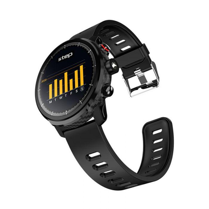 Ceas smartwatch TechONE™ L5, rezistent la apa, touch, ecran HD, conectare telefon, lanterna, pedometru, notificari, negru