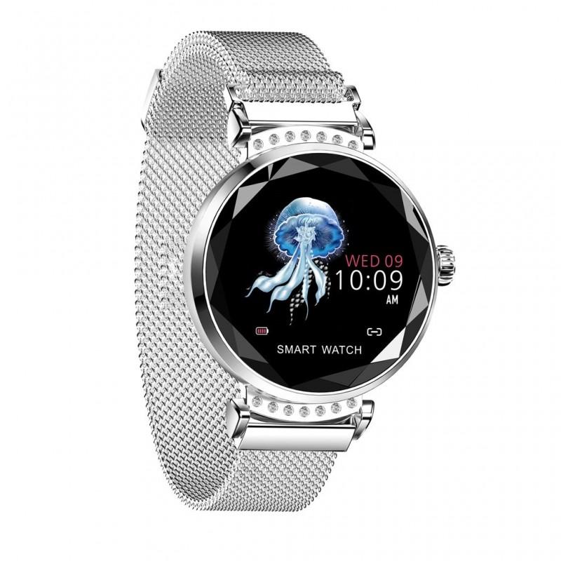 Ceas smartwatch TechONE™ H2, senzor ritm cardiac, sporturi multiple, notificari, conectare telefon, rezistent la apa, argintiu