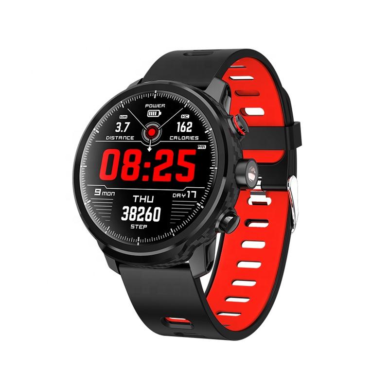 Ceas smartwatch TechONE™ L5, rezistent la apa, touch, ecran HD, conectare telefon, lanterna, pedometru, notificari, negru/rosu