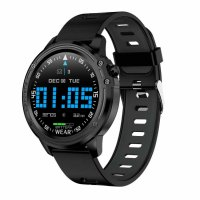 Ceas smartwatch TechONE™ L8, metalic, rezistent la apa, full touch, ecran HD, ritm cardiac precis, conectare telefon, pedometru, notificari, negru