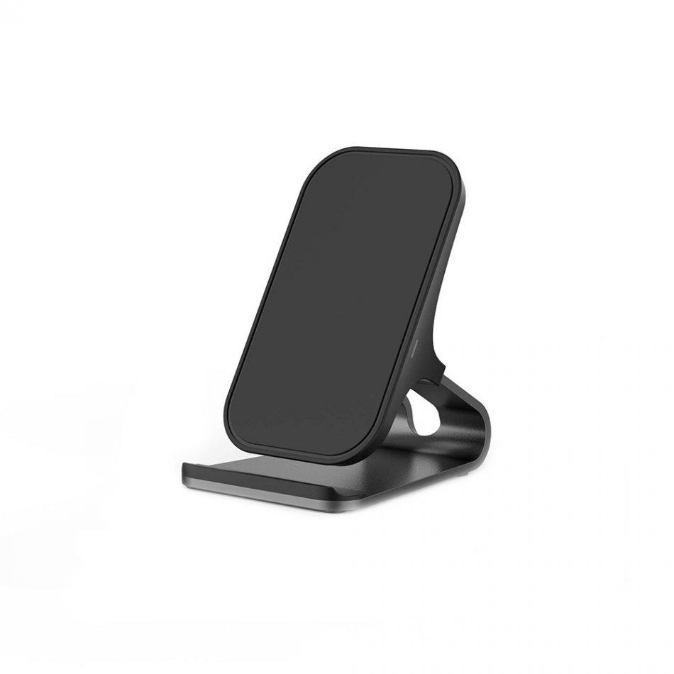 Incarcator wireless Loowoko LWC-S05, 10W, Fast Charge, 2 Bobine Cupru, Metalic, Negru