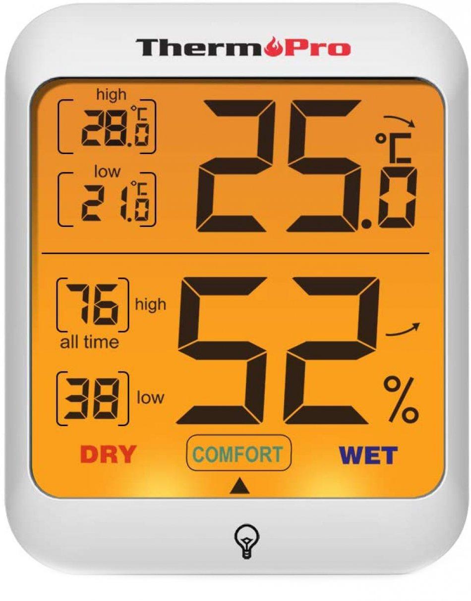 Termometru si higrometru de camera ThermoPro TP-53 Pro, ecran 3 inch, lumina, touch, indicator comfort, citire 10s, 3 tipuri de montare, gama profesionala, alb
