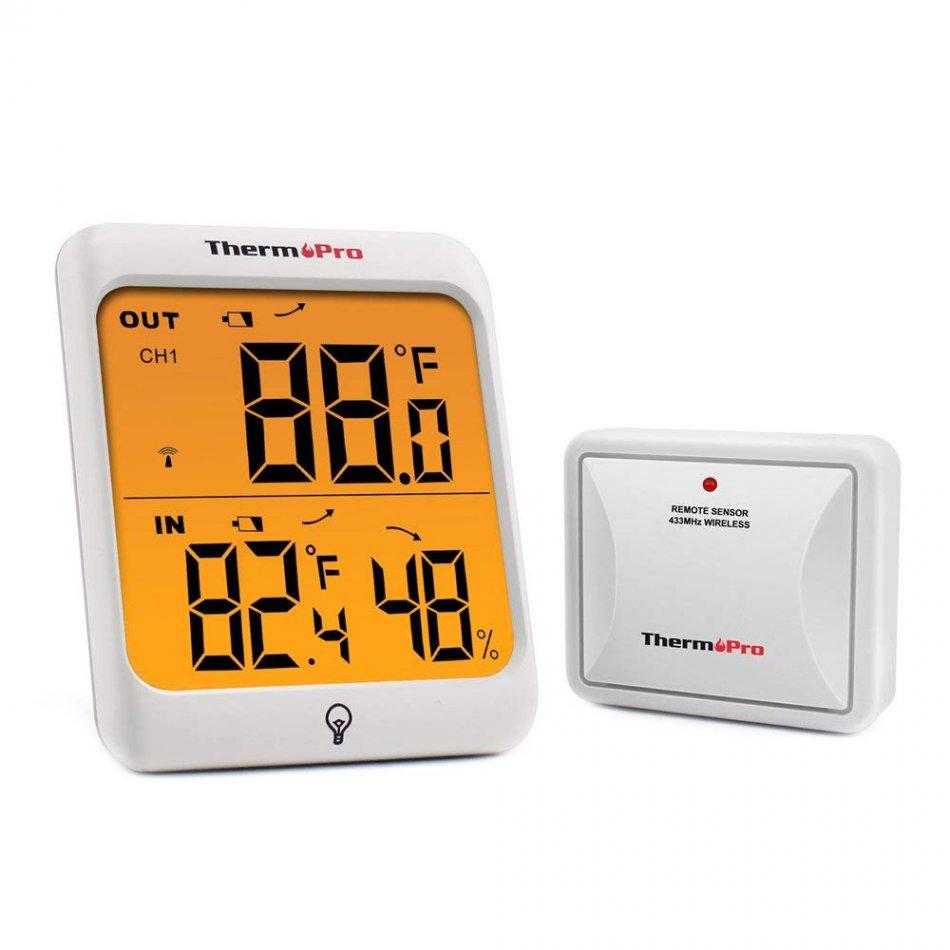 Termometru si Higrometru interior/exterior ThermoPro TP-63A Pro, ecran 3 inch, lumina, touch, senzor exterior, 60m, indicator comfort, citire 10s, 3 tipuri de montare, gama profesionala, alb