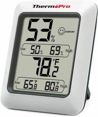 Termometru si higrometru de camera ThermoPro TP-50 Pro, ecran 2.7 inch, indicator comfort, citire 10s, 3 tipuri de montare, gama profesionala, alb