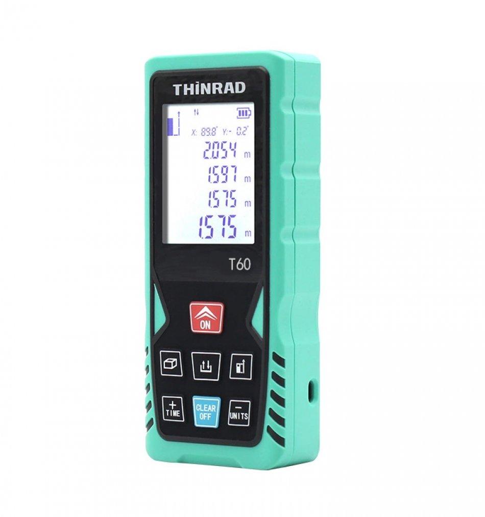 Telemetru laser si boloboc profesional Thinrad T60, 60m, display, acuratete +/- 1.5mm, calcul suprafata, volum, husa depozitare, verde