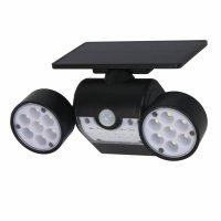 Lampa solara tripla Huerler™ 30 LED-uri HS-010, 800 lumeni, panou solar polisiliciu, rezistena la apa, senzor de miscare si lumina, unghi luminare 120 grade, 2200mAh, negru